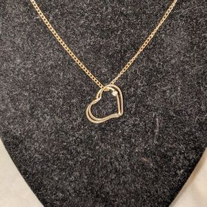 Jewelry - Double Gold Heart Clear Rhinestone Pendant Necklac